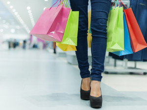 Shopping bags and women's legs