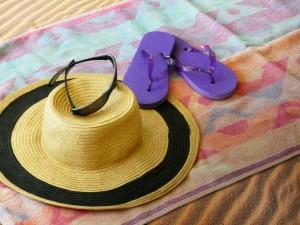 Sunglasses, Hat, and Flip Flops