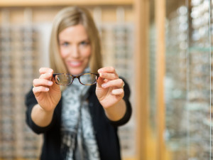 Woman with astigmatism and blurry vision